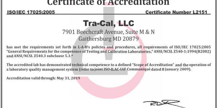 NSCA Tra-Cal is NOW ANSI Z540 3 Accredited, Meeting the