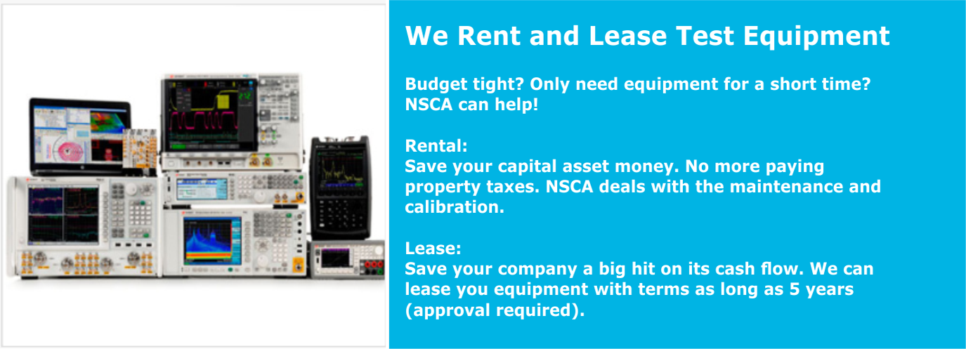 We Rent and Lease Test Equipment
